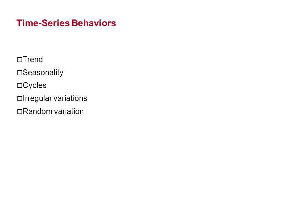 Time-Series Behaviors o Trend o Seasonality o Cycles o Irregular variations o Random variation