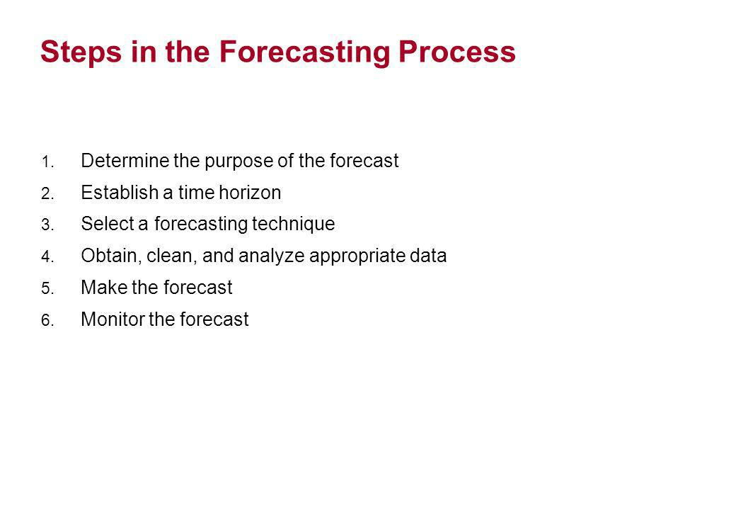Steps in the Forecasting Process 1. Determine the purpose of the forecast 2. Establish a time horizon 3. Select a forecasting technique 4. Obtain, cle
