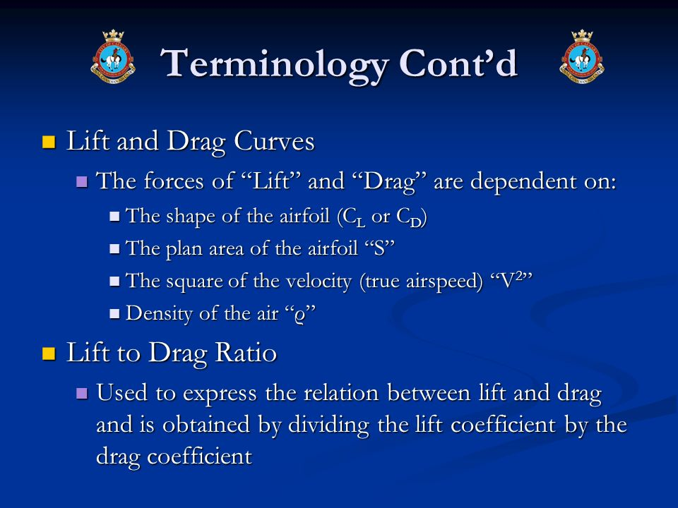Terminology Contd Lift and Drag Curves Lift and Drag Curves The forces of Lift and Drag are dependent on: The forces of Lift and Drag are dependent on