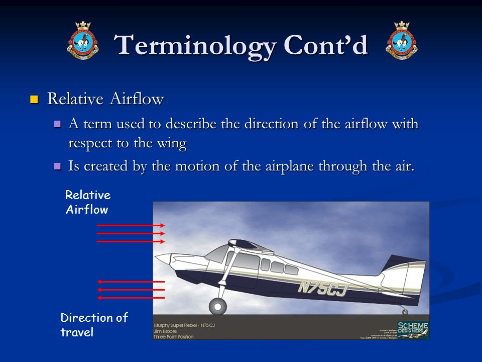 Terminology Contd Relative Airflow Relative Airflow A term used to describe the direction of the airflow with respect to the wing A term used to descr