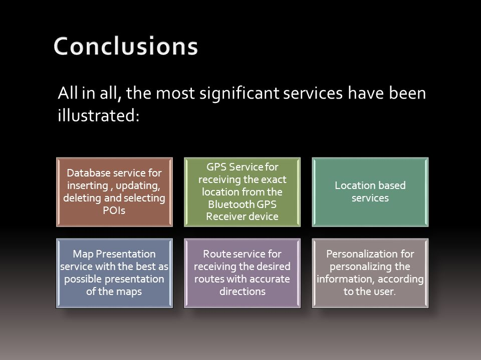 All in all, the most significant services have been illustrated: Database service for inserting, updating, deleting and selecting POIs GPS Service for receiving the exact location from the Bluetooth GPS Receiver device Location based services Map Presentation service with the best as possible presentation of the maps Route service for receiving the desired routes with accurate directions Personalization for personalizing the information, according to the user.