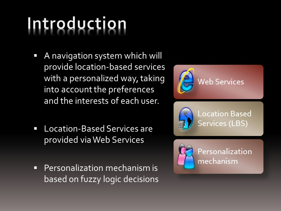 A navigation system which will provide location-based services with a personalized way, taking into account the preferences and the interests of each user.