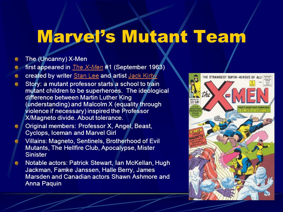 Marvels Mutant Team The (Uncanny) X-Men first appeared in The X-Men #1 (September 1963)The X-Men created by writer Stan Lee and artist Jack KirbyStan