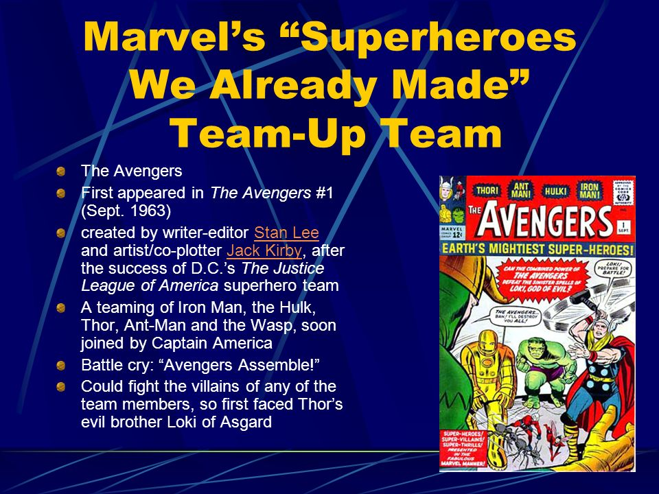 Marvels Superheroes We Already Made Team-Up Team The Avengers First appeared in The Avengers #1 (Sept. 1963) created by writer-editor Stan Lee and art