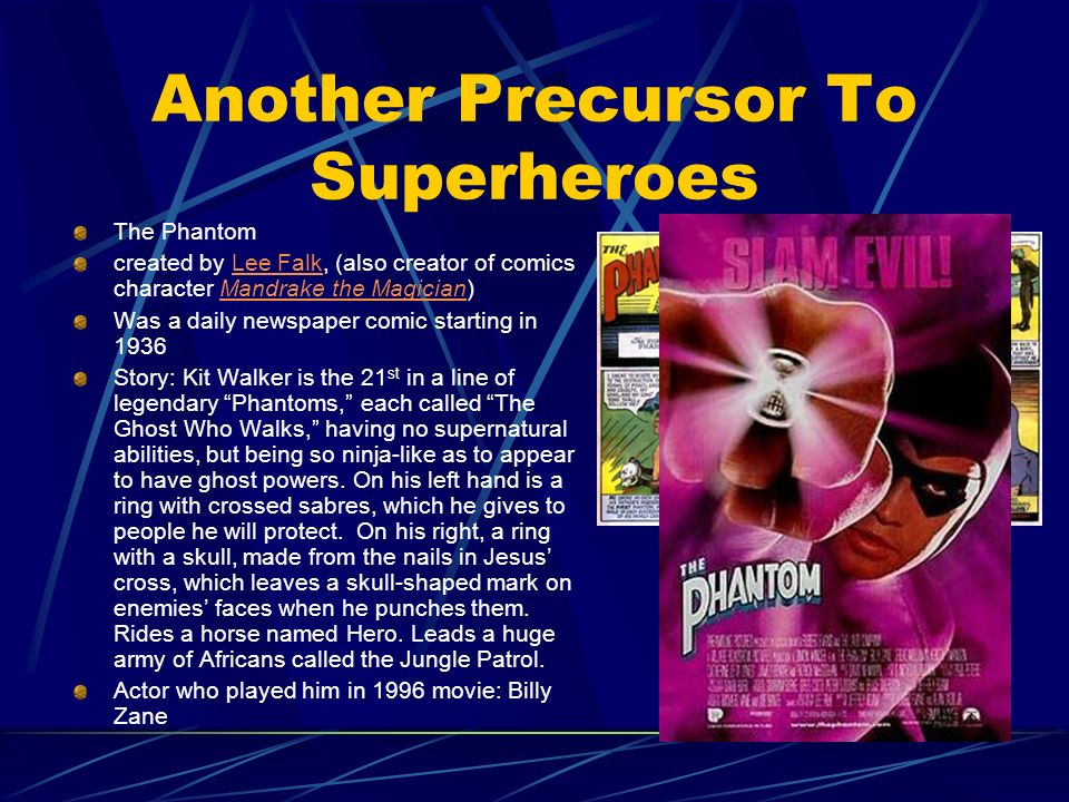 Another Precursor To Superheroes The Phantom created by Lee Falk, (also creator of comics character Mandrake the Magician)Lee FalkMandrake the Magicia