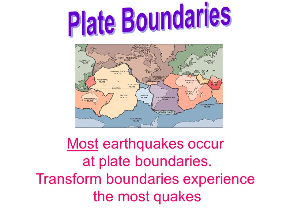 Most earthquakes occur at plate boundaries. Transform boundaries experience the most quakes