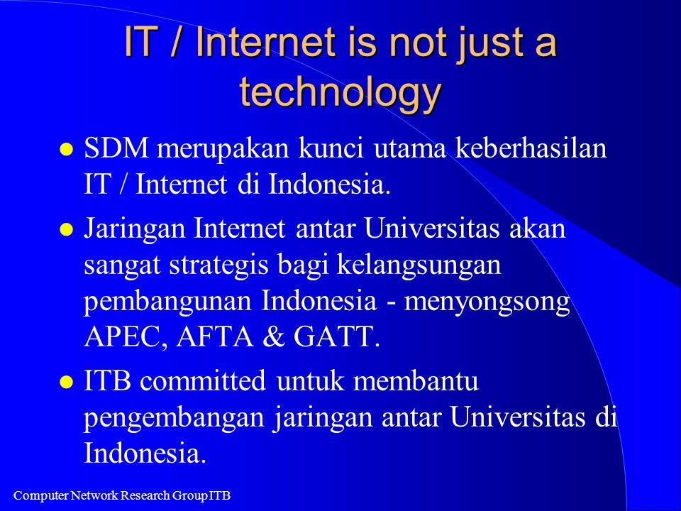 Computer Network Research Group ITB IT / Internet is not just a technology l SDM merupakan kunci utama keberhasilan IT / Internet di Indonesia. l Jari