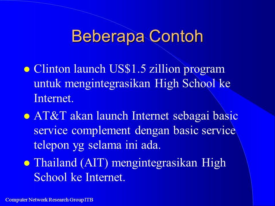 Computer Network Research Group ITB Beberapa Contoh l Clinton launch US$1.5 zillion program untuk mengintegrasikan High School ke Internet. l AT&T aka