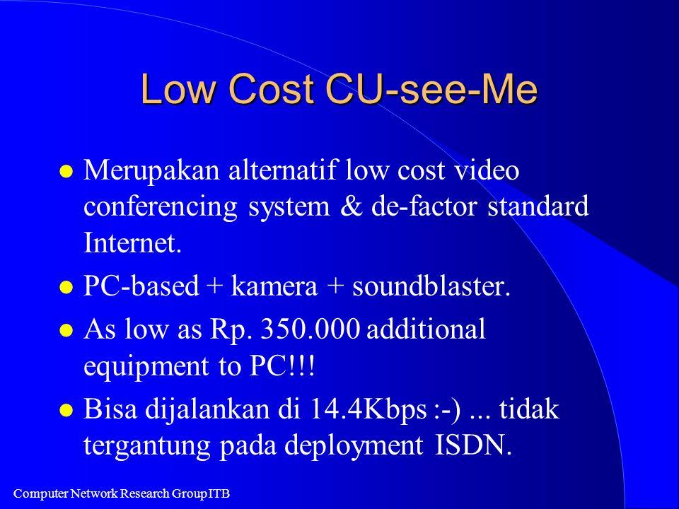 Low Cost CU-see-Me l Merupakan alternatif low cost video conferencing system & de-factor standard Internet. l PC-based + kamera + soundblaster. l As l
