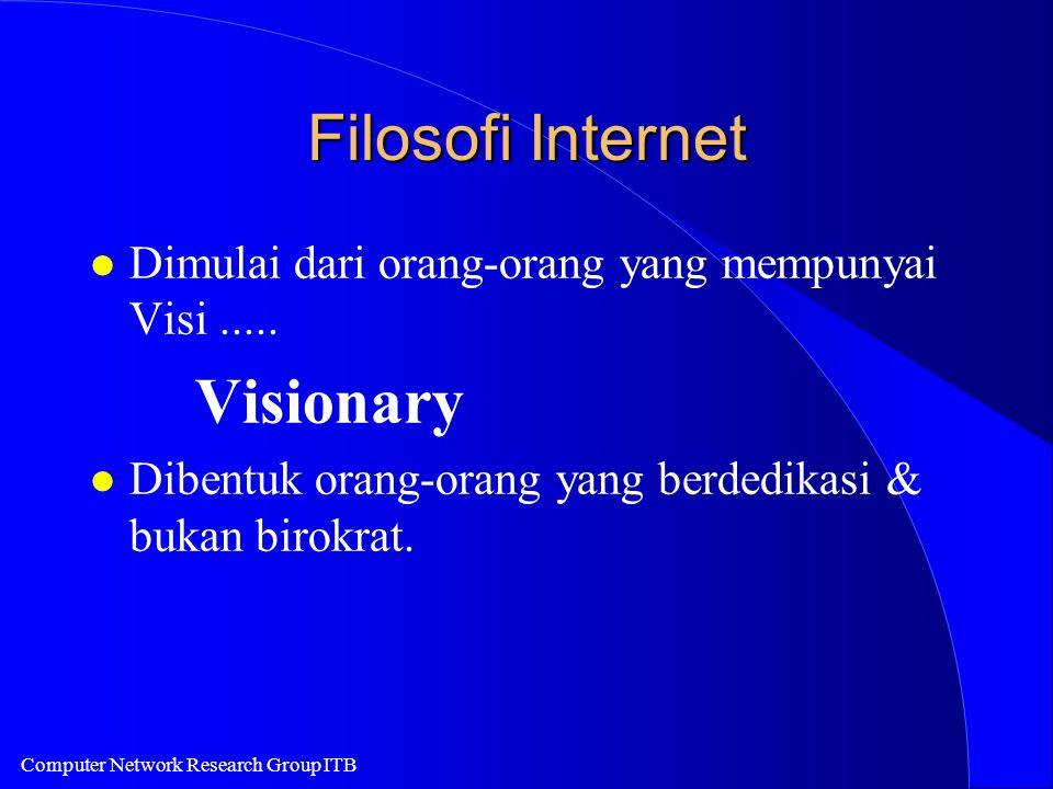 Computer Network Research Group ITB Filosofi Internet l Dimulai dari orang-orang yang mempunyai Visi..... Visionary l Dibentuk orang-orang yang berded