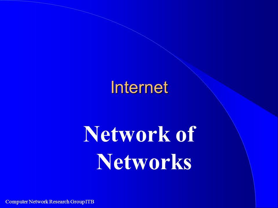 Computer Network Research Group ITB Ciri Khas Internet l Network of Networks l Di backup oleh banyak volunteer yang berdedikasi.