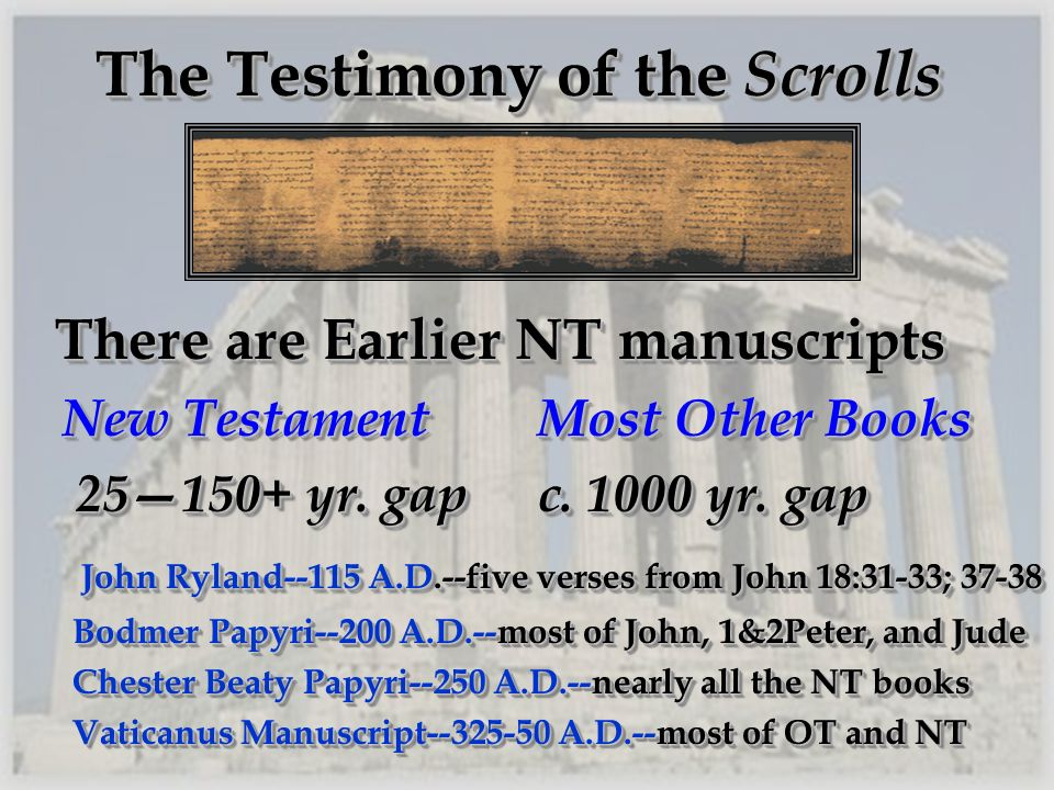 The Testimony of the Scrolls There are Earlier NT manuscripts There are Earlier NT manuscripts New TestamentMost Other Books New TestamentMost Other B