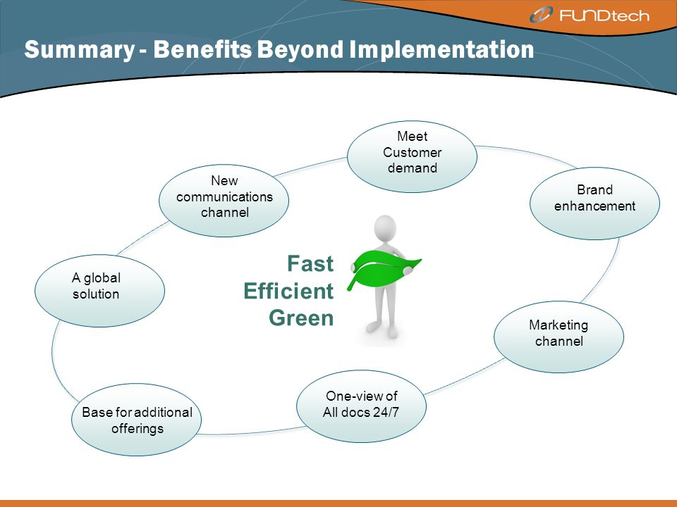 Summary - Benefits Beyond Implementation New communications channel Meet Customer demand Brand enhancement Marketing channel One-view of All docs 24/7 A global solution Base for additional offerings Fast Efficient Green