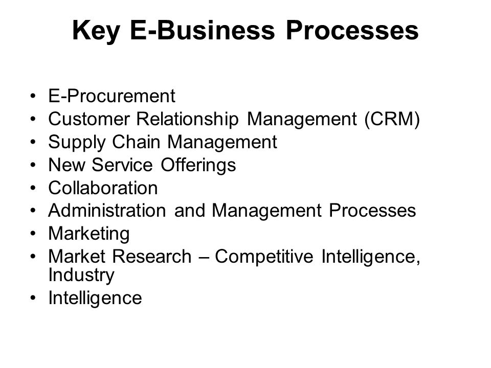 Key E-Business Processes E-Procurement Customer Relationship Management (CRM) Supply Chain Management New Service Offerings Collaboration Administration and Management Processes Marketing Market Research – Competitive Intelligence, Industry Intelligence