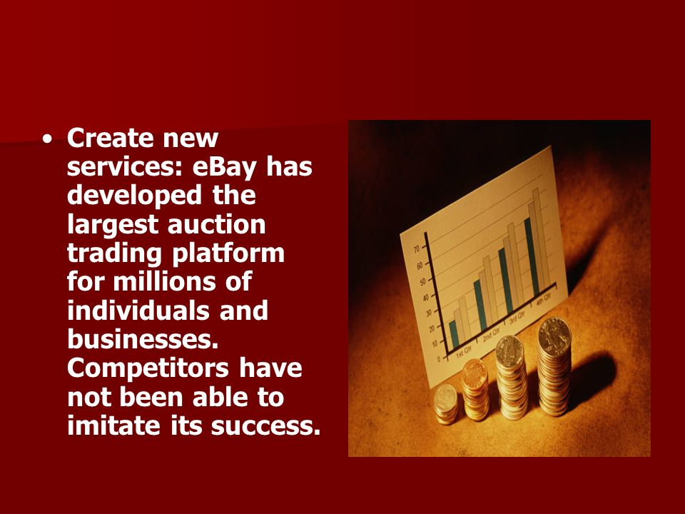 Create new services: eBay has developed the largest auction trading platform for millions of individuals and businesses. Competitors have not been abl