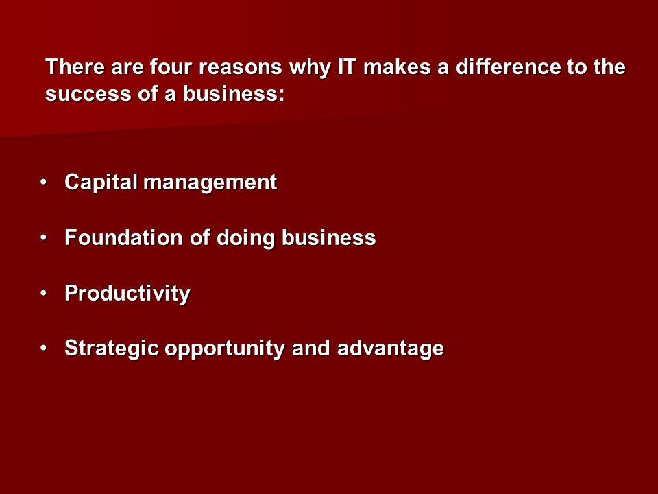 Capital managementCapital management Foundation of doing businessFoundation of doing business ProductivityProductivity Strategic opportunity and advan