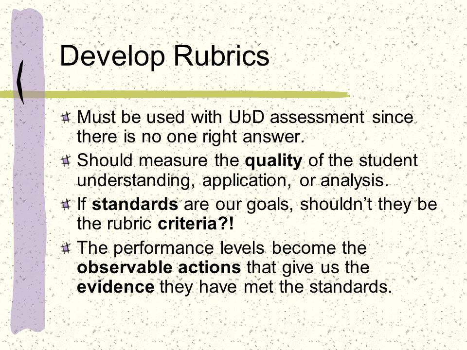 Develop Rubrics Must be used with UbD assessment since there is no one right answer. Should measure the quality of the student understanding, applicat