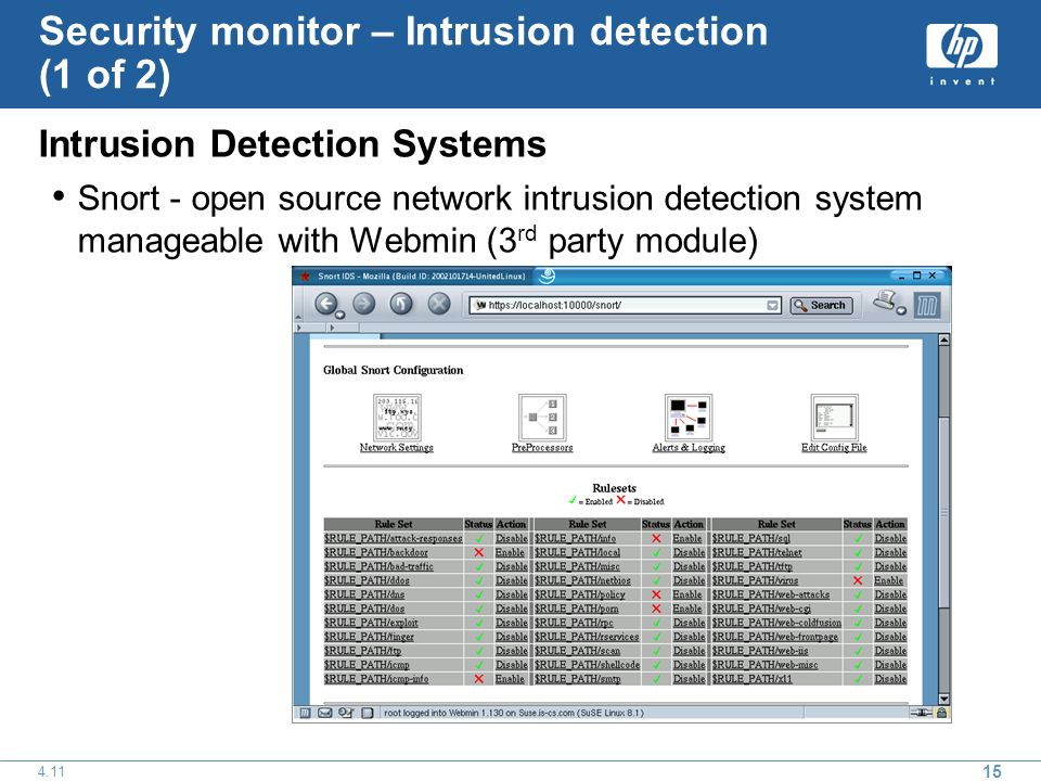 15 4.11 Security monitor – Intrusion detection (1 of 2) Intrusion Detection Systems Snort - open source network intrusion detection system manageable with Webmin (3 rd party module)