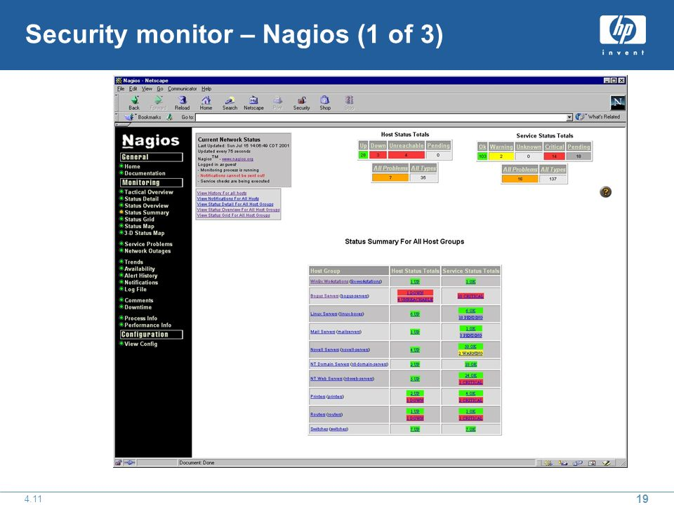 19 4.11 Security monitor – Nagios (1 of 3)