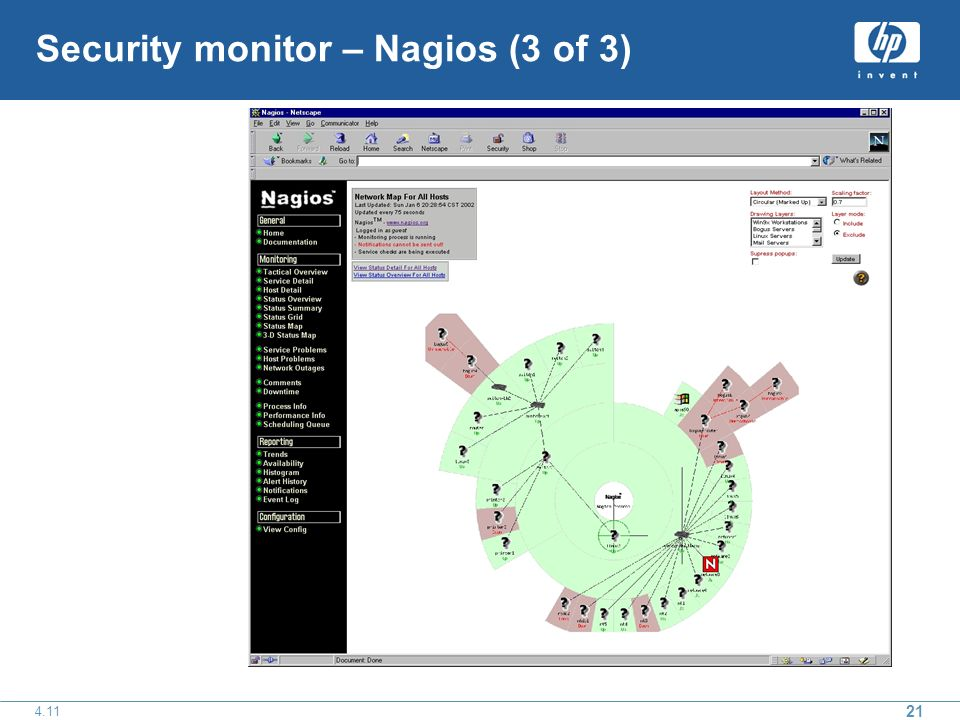 21 4.11 Security monitor – Nagios (3 of 3)