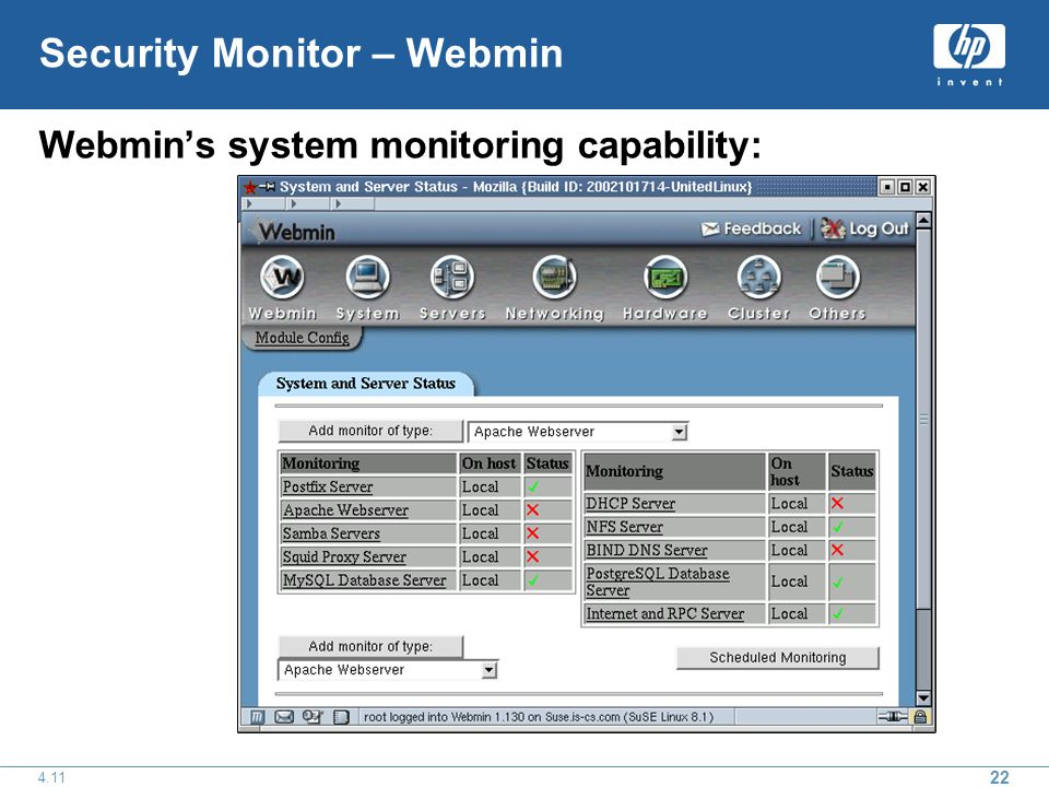 22 4.11 Security Monitor – Webmin Webmins system monitoring capability: