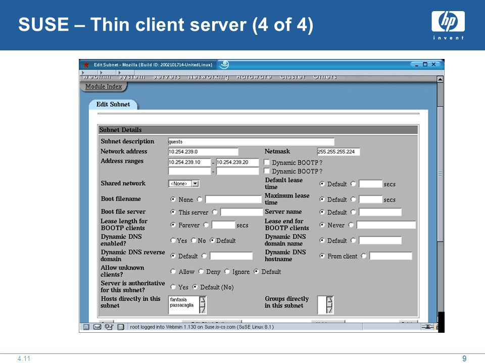 9 4.11 SUSE – Thin client server (4 of 4)