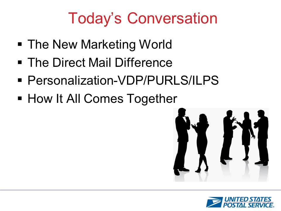 Todays Conversation The New Marketing World The Direct Mail Difference Personalization-VDP/PURLS/ILPS How It All Comes Together