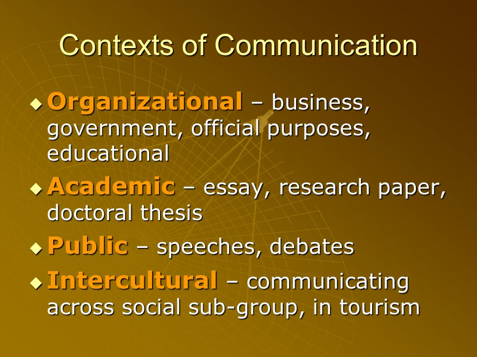 Contexts of Communication Organizational – business, government, official purposes, educational Organizational – business, government, official purpos
