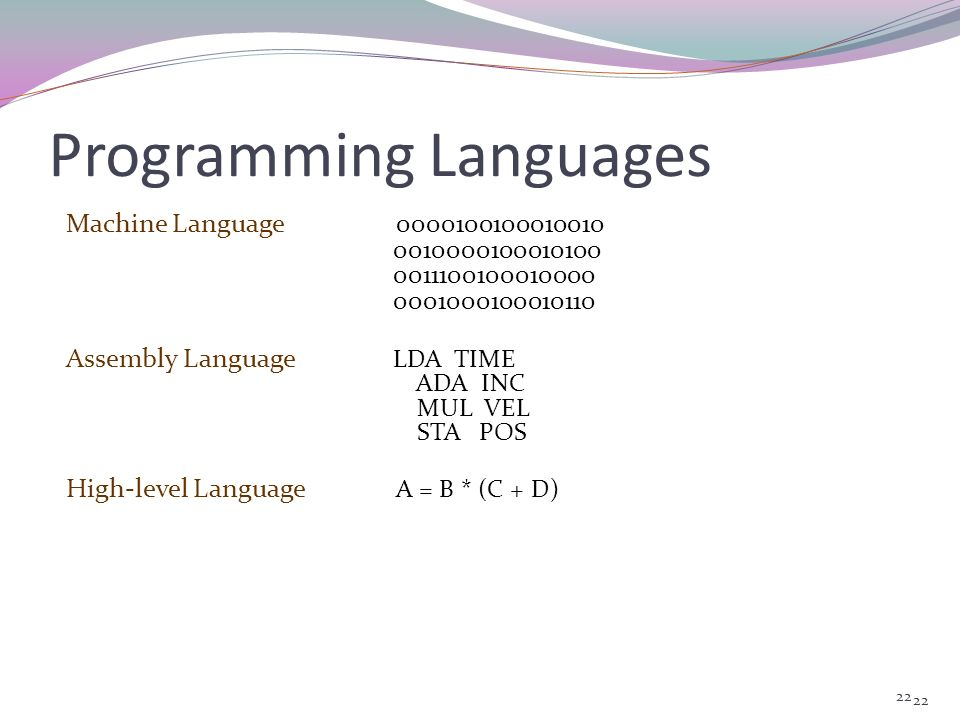 21 Levels of Programming Languages Programming languages can be classified into three broad categories : Machine Language Assembly Language High-level
