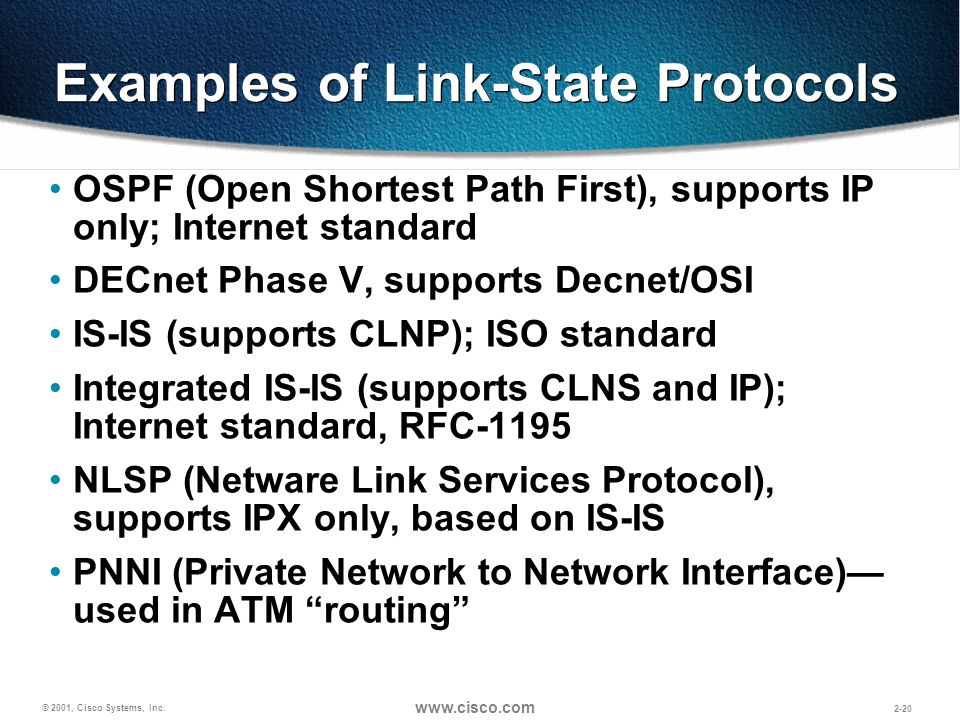 © 2001, Cisco Systems, Inc. www.cisco.com 2-20 Examples of Link-State Protocols OSPF (Open Shortest Path First), supports IP only; Internet standard D