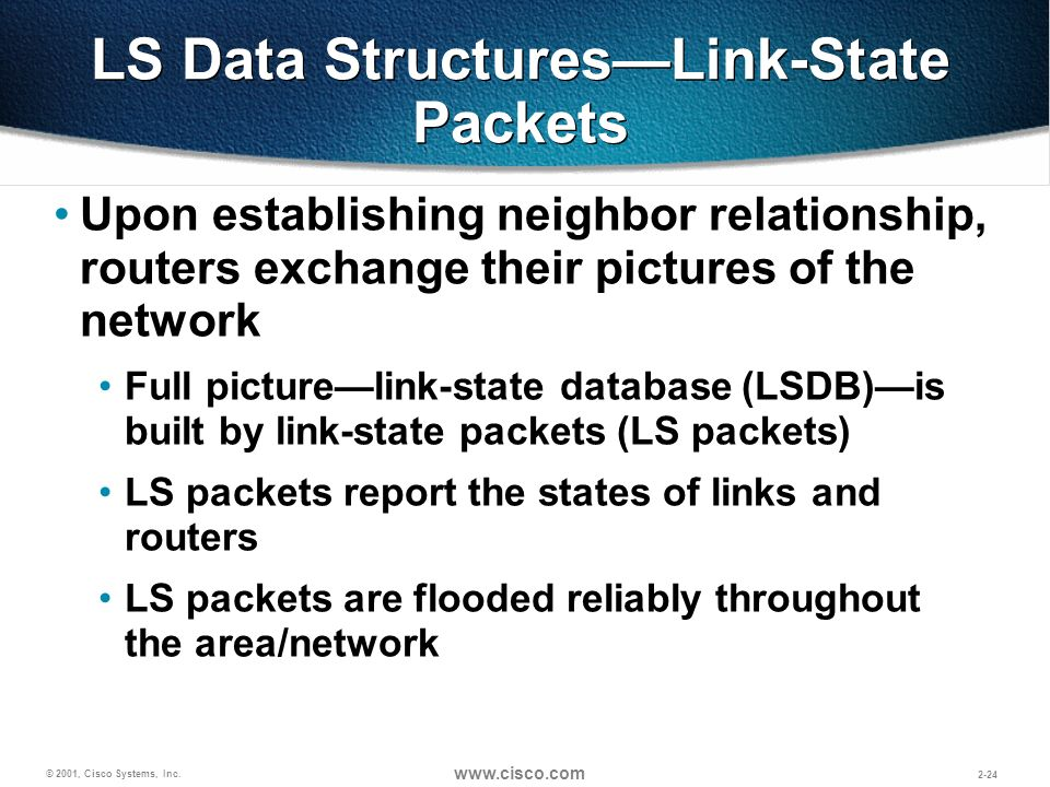 © 2001, Cisco Systems, Inc. www.cisco.com 2-24 LS Data StructuresLink-State Packets Upon establishing neighbor relationship, routers exchange their pi