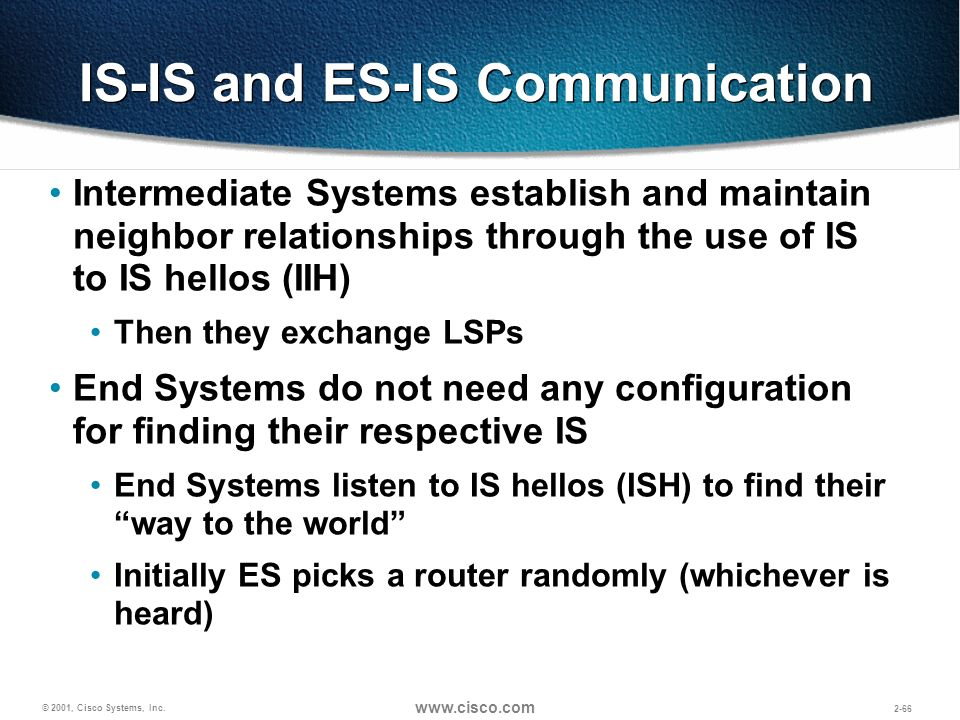 © 2001, Cisco Systems, Inc. www.cisco.com 2-66 IS-IS and ES-IS Communication Intermediate Systems establish and maintain neighbor relationships throug