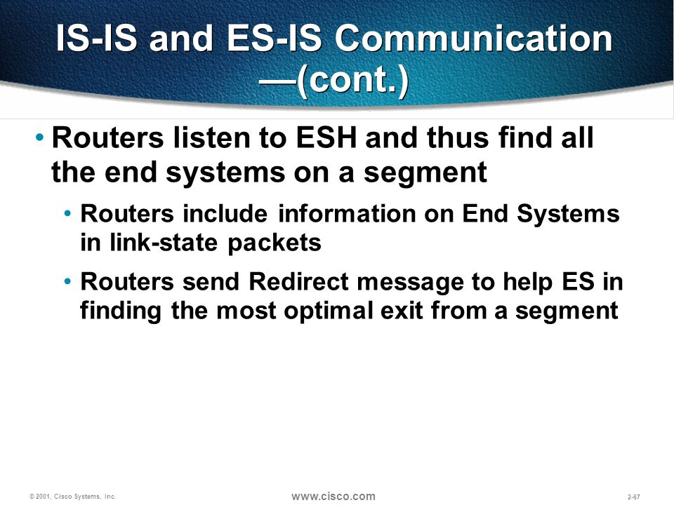 © 2001, Cisco Systems, Inc. www.cisco.com 2-67 IS-IS and ES-IS Communication (cont.) Routers listen to ESH and thus find all the end systems on a segm