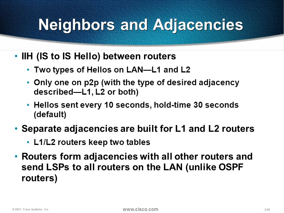 © 2001, Cisco Systems, Inc. www.cisco.com 2-68 Neighbors and Adjacencies IIH (IS to IS Hello) between routers Two types of Hellos on LANL1 and L2 Only