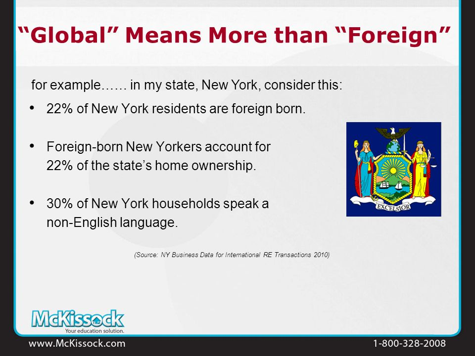 Global Means More than Foreign 22% of New York residents are foreign born. Foreign-born New Yorkers account for 22% of the states home ownership. 30%
