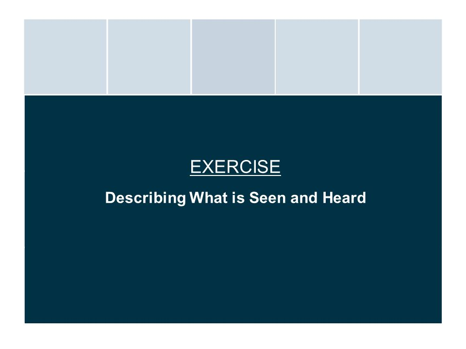 EXERCISE Describing What is Seen and Heard