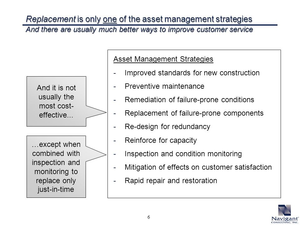 6 Replacement is only one of the asset management strategies And there are usually much better ways to improve customer service Asset Management Strategies -Improved standards for new construction -Preventive maintenance -Remediation of failure-prone conditions -Replacement of failure-prone components -Re-design for redundancy -Reinforce for capacity -Inspection and condition monitoring -Mitigation of effects on customer satisfaction -Rapid repair and restoration And it is not usually the most cost- effective...