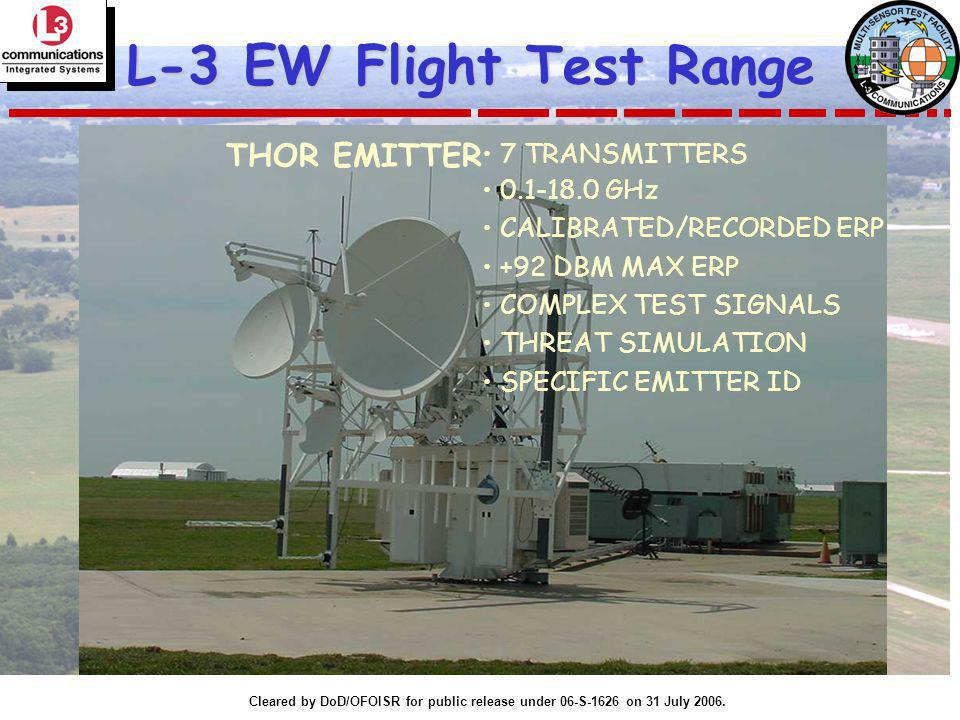 Cleared by DoD/OFOISR for public release under 06-S-1626 on 31 July 2006. L-3 EW Flight Test Range 7 TRANSMITTERS 0.1-18.0 GHz CALIBRATED/RECORDED ERP