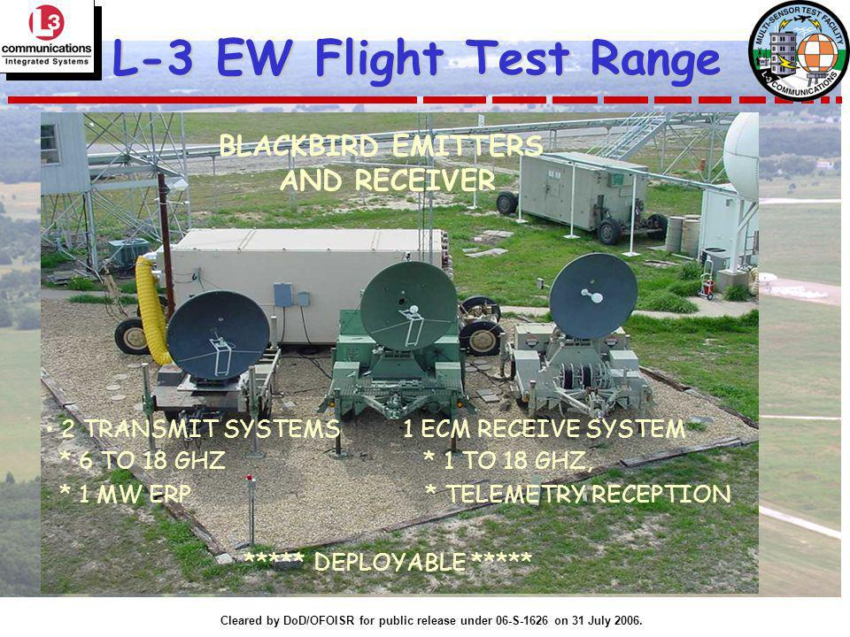 Cleared by DoD/OFOISR for public release under 06-S-1626 on 31 July 2006. L-3 EW Flight Test Range 2 TRANSMIT SYSTEMS 1 ECM RECEIVE SYSTEM * 6 TO 18 G