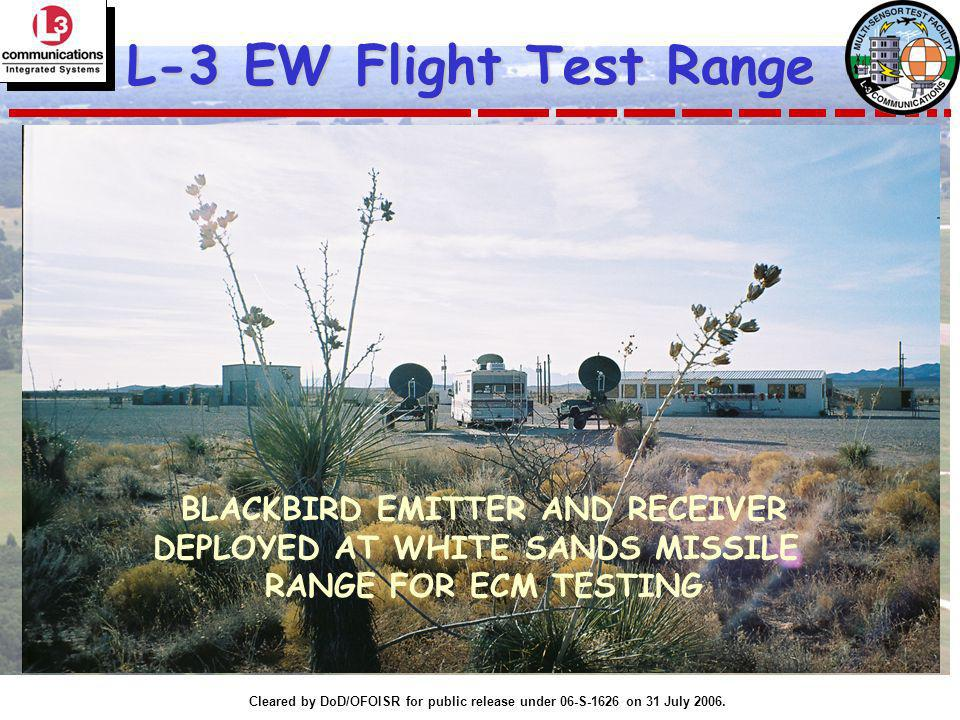 Cleared by DoD/OFOISR for public release under 06-S-1626 on 31 July 2006. L-3 EW Flight Test Range BLACKBIRD EMITTER AND RECEIVER DEPLOYED AT WHITE SA
