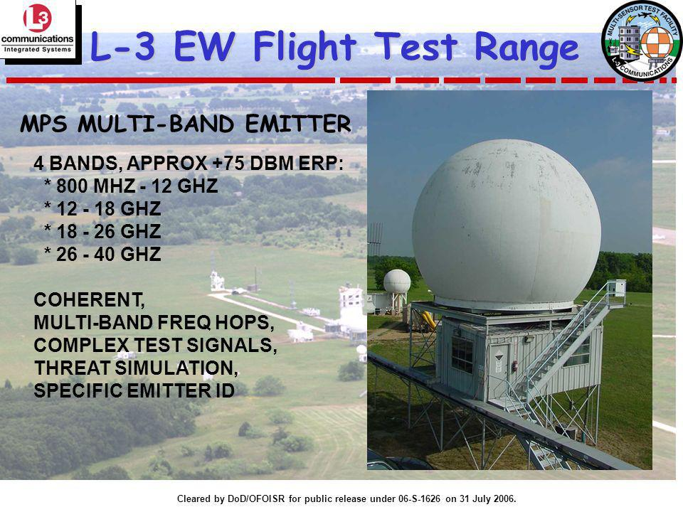 Cleared by DoD/OFOISR for public release under 06-S-1626 on 31 July 2006. L-3 EW Flight Test Range MPS MULTI-BAND EMITTER 4 BANDS, APPROX +75 DBM ERP: