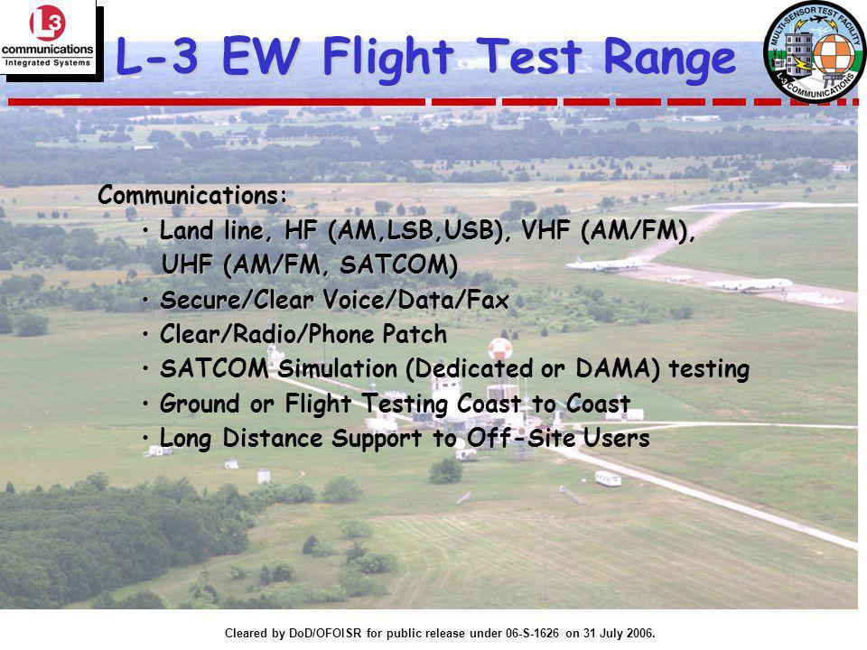 Cleared by DoD/OFOISR for public release under 06-S-1626 on 31 July 2006. L-3 EW Flight Test Range Communications: Land line, HF (AM,LSB,USB), VHF (AM