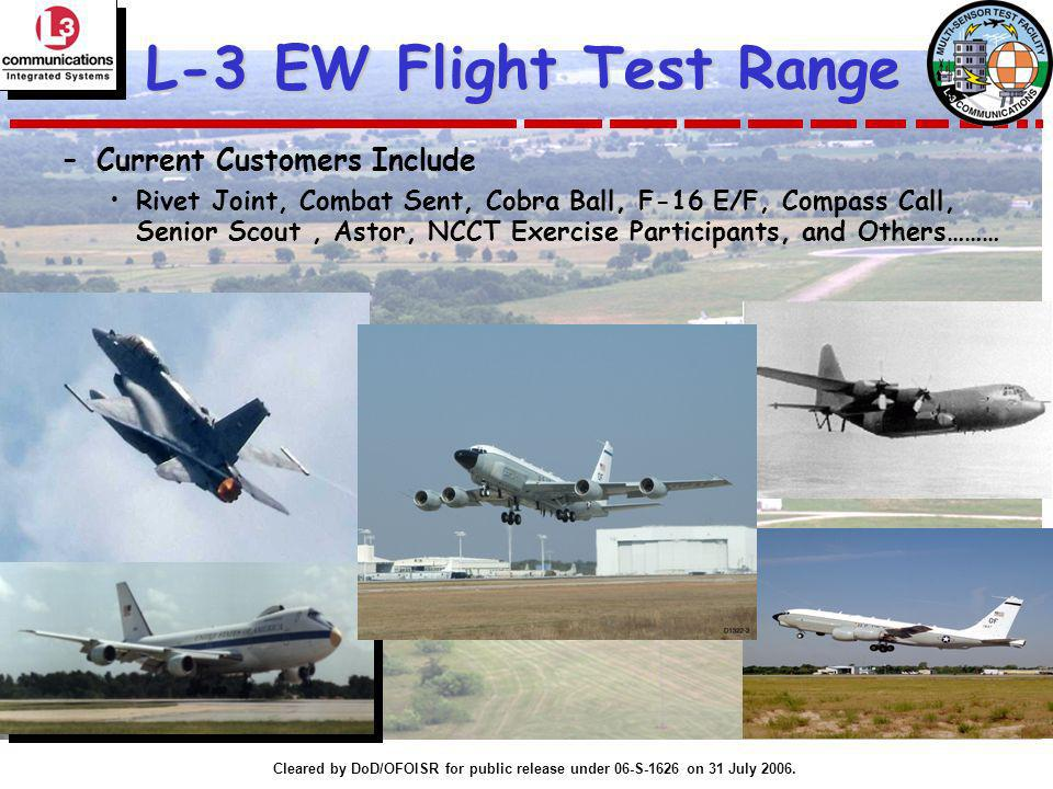 Cleared by DoD/OFOISR for public release under 06-S-1626 on 31 July 2006. L-3 EW Flight Test Range –Current Customers Include Rivet Joint, Combat Sent
