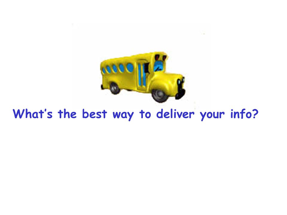 Whats the best way to deliver your info