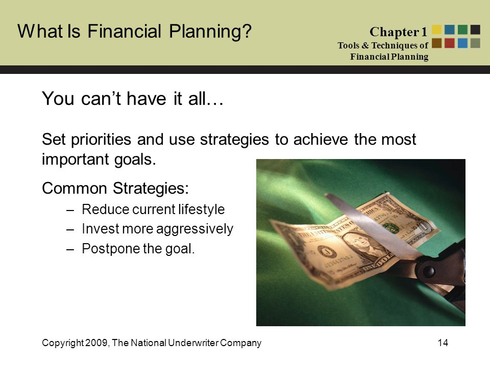 What Is Financial Planning? Chapter 1 Tools & Techniques of Financial Planning Copyright 2009, The National Underwriter Company14 You cant have it all