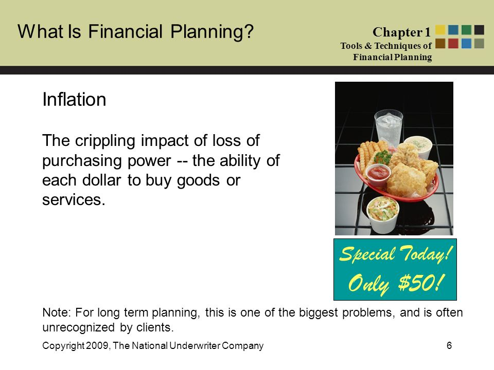 What Is Financial Planning? Chapter 1 Tools & Techniques of Financial Planning Copyright 2009, The National Underwriter Company6 Special Today! Only $