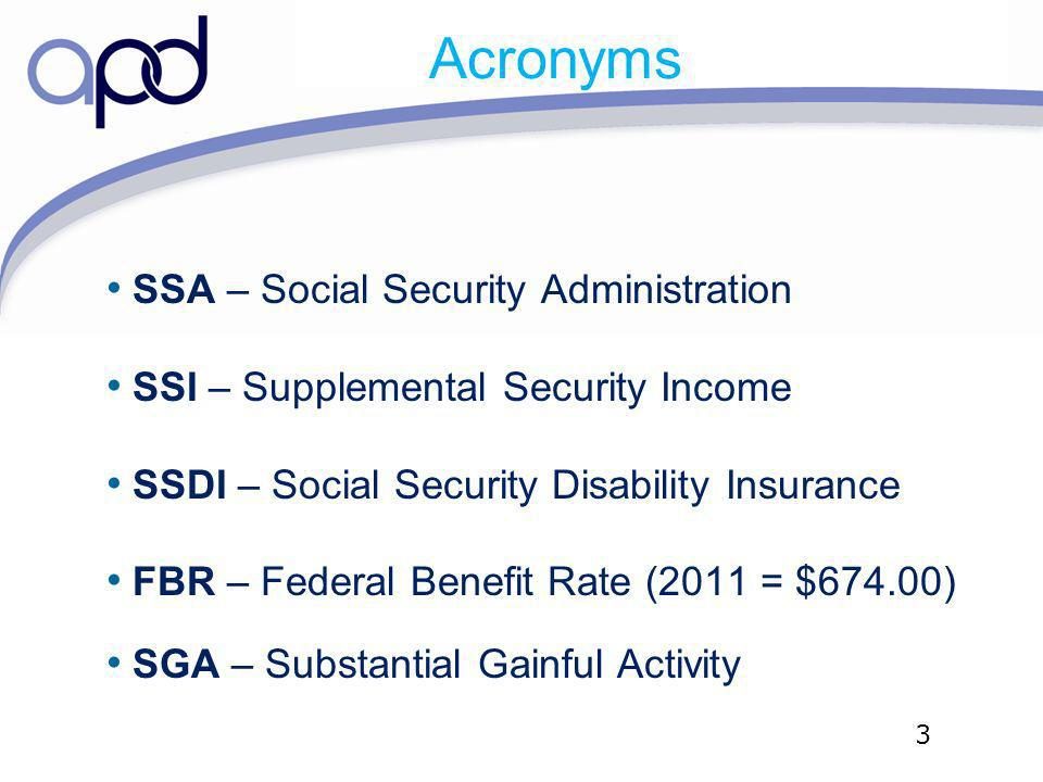 Acronyms SSA – Social Security Administration SSI – Supplemental Security Income SSDI – Social Security Disability Insurance FBR – Federal Benefit Rat