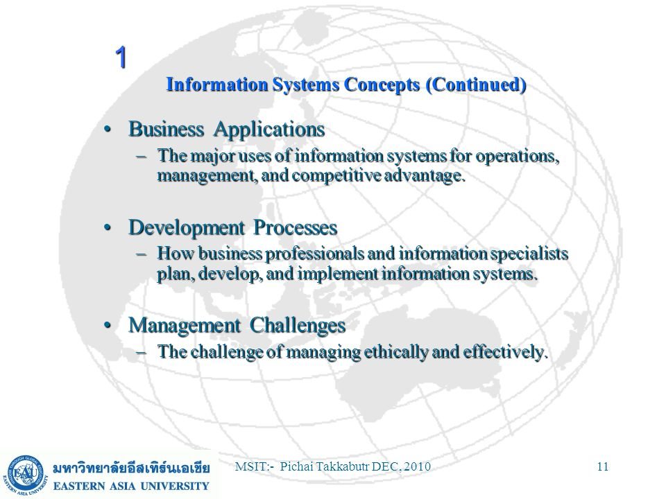 MSIT:- Pichai Takkabutr DEC, 201011 Information Systems Concepts (Continued) Business ApplicationsBusiness Applications –The major uses of information
