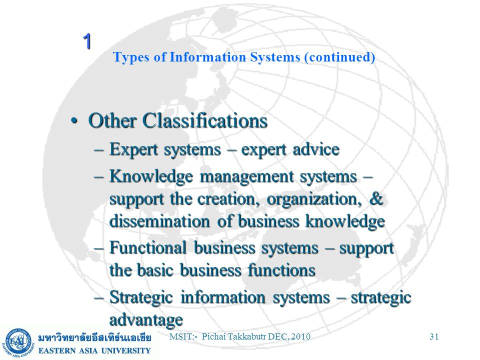 MSIT:- Pichai Takkabutr DEC, 201031 Types of Information Systems (continued) Other ClassificationsOther Classifications –Expert systems – expert advic
