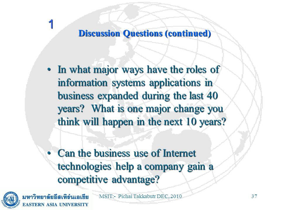MSIT:- Pichai Takkabutr DEC, 201037 Discussion Questions (continued) In what major ways have the roles of information systems applications in business